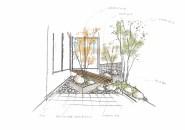 イロハモミジが映える、心癒してくれる坪庭