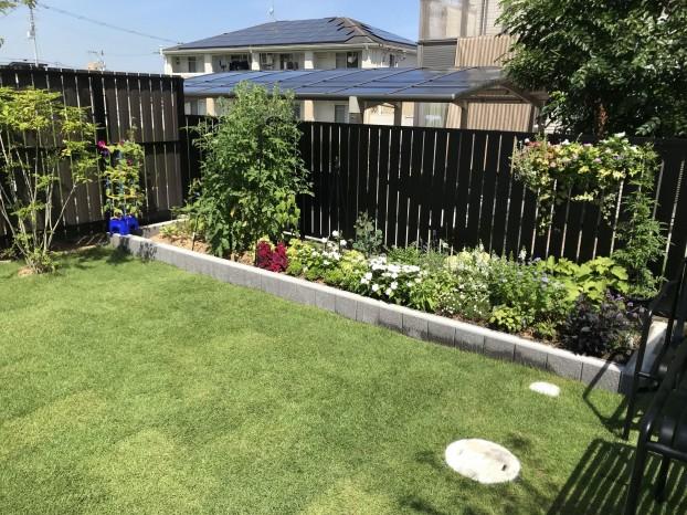 黒い外壁に緑が映える庭